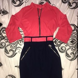Dresses & Skirts - Beautiful two color dress with zipper detail.